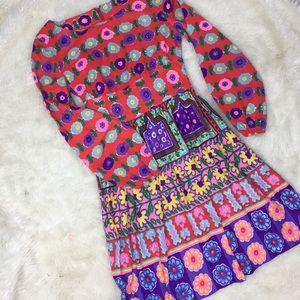 Vintage 70's Flower Child Mini Dress. XS